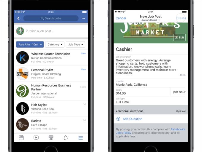 Facebook job posts
